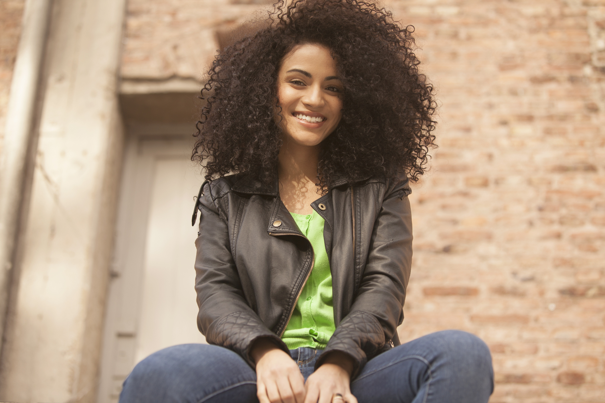 African american young woman smiling